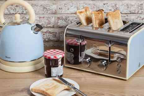 Groupon Goods Global GmbH - Swan Retro Look Dome Kettle and Four Slice Toaster With Free Delivery - Save 0%