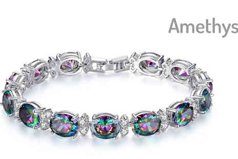 Your Ideal Gift - Simulated Rainbow Topaz and Crystal Bracelet Choose 2 Colours - Save 78%