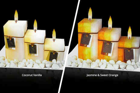 Direct 2 public - Three aromatic wax candles on frosted glass - Save 65%