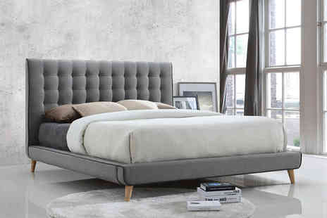 Majestic Furnishings - Double or king size Stockholm grey fabric bed frame - Save 64%