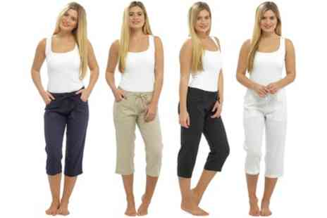 Groupon Goods Global GmbH - Womens Linen Trousers - Save 0%