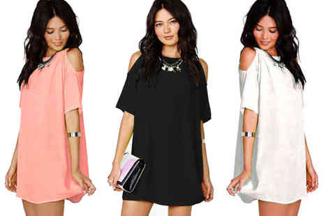 Verso Fashion - Boho off shoulder mini dress choose from three colours - Save 64%