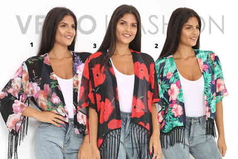 Verso Fashion - Printed fringed kimono - Save 68%