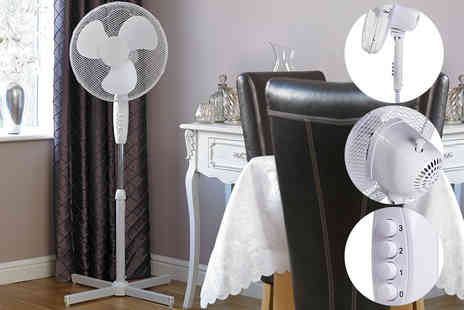 Groundlevel - 16 inch oscillating pedestal standing fan - Save 65%