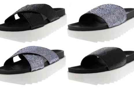 Groupon Goods Global GmbH - Womens Glitter Slip On Sandals - Save 0%