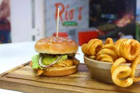 Rios Gourmet Grill Prestwich - Burger, Tasca or Wrap Meal with Extra Side for Two or Four - Save 22%