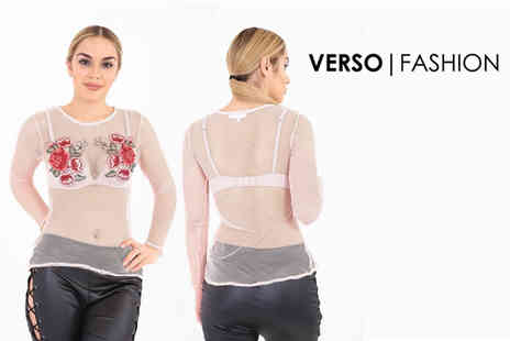 Verso Fashion - Long sleeve embroidered mesh top - Save 76%