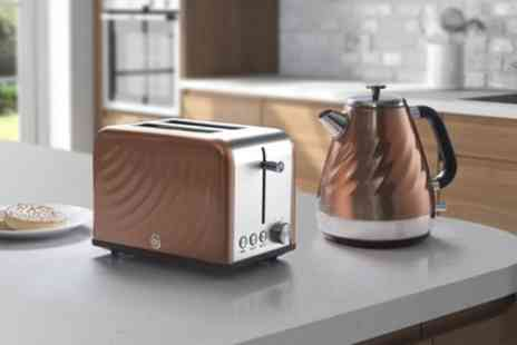 Groupon Goods Global GmbH - Swan Copper Twist Kettle and Toaster Set With Free Delivery - Save 53%