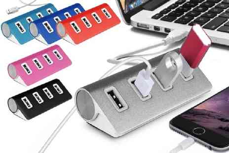 Ckent - Four port aluminium USB hub available in six colours - Save 75%