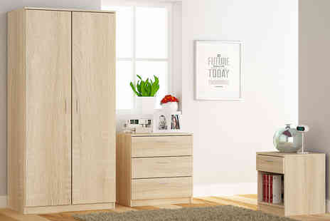 Blend Furniture - Three piece oak bedroom furniture set - Save 52%