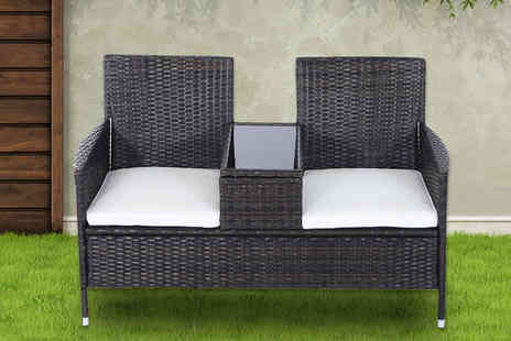 Aosom - Rattan chair set with middle table choose from two colours - Save 60%