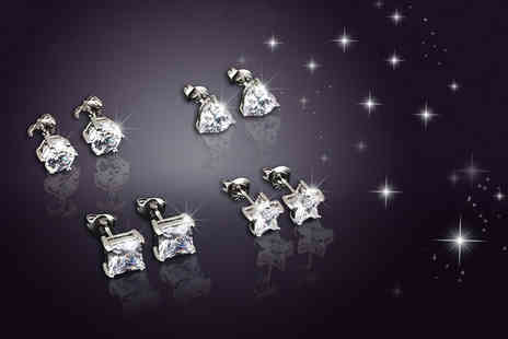 Evoked Design - Set of four crystal earrings choose from two colours - Save 94%