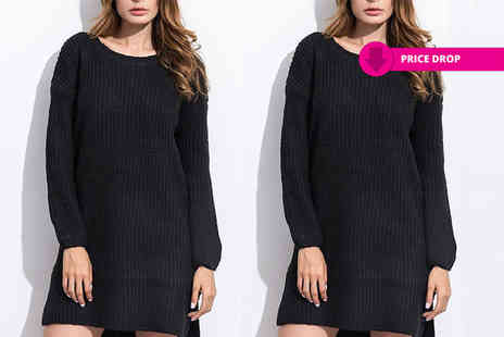 Verso Fashion - Long sleeve jumper dress choose from two colours - Save 64%