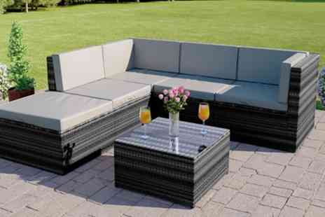 Groupon Goods Global GmbH - Six Piece Barcelona Modular Rattan Effect Garden Sofa and Drinks Table Set - Save 57%