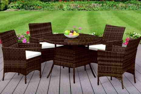 Groupon Goods Global GmbH - Valletta Outdoor Rattan Effect Dining Set with Optional Cover With Free Delivery - Save 66%