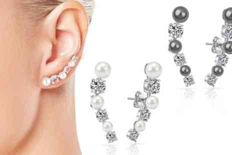 Groupon Goods Global GmbH - One or Two Pairs Philip Jones Pearl Climber Earrings with Crystals from Swarovski - Save 84%