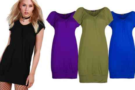 Groupon Goods Global GmbH - Womens V Neck Ruched TShirt Dress - Save 0%