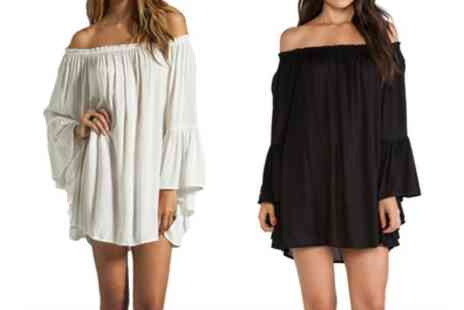 Groupon Goods Global GmbH - Fluted Sleeve Off Shoulder Beach Dress - Save 0%