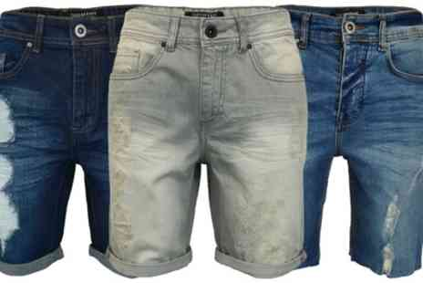 Groupon Goods Global GmbH - Threadbare Mens Ripped Denim Shorts - Save 0%
