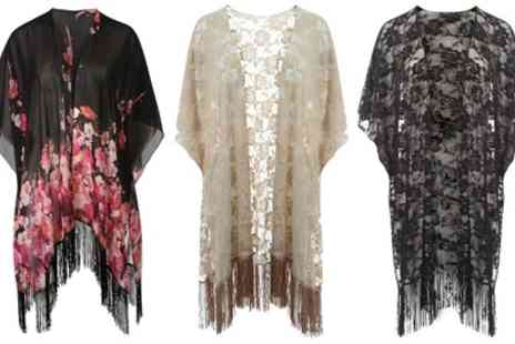 Groupon Goods Global GmbH - Black or Beige Womens Chiffon Kimono in Choices of Design - Save 0%