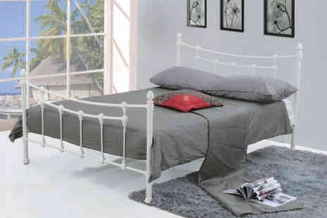 jia Interiors - White metal double bed frame - Save 79%