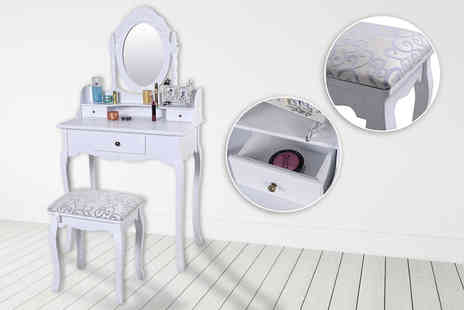 FDS Corporation - White dressing table set with adjustable mirror and stool - Save 68%