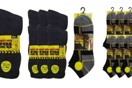 Groupon Goods Global GmbH - 6, 12 or 18 Pairs of Mens Work or Trainer Work Socks - Save 0%