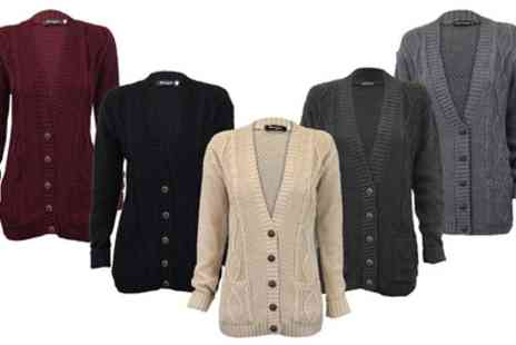 Groupon Goods Global GmbH - Womens Cable Knit Button Cardigan - Save 0%
