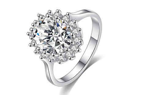 Your Ideal Gift - Rhodium-Plated Crystal Ring Choose 2 Colours - Save 85%