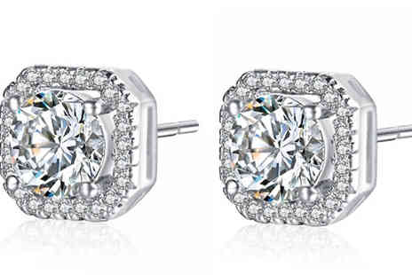 Your Ideal Gift - Crystal Stud Square Earrings - Save 76%