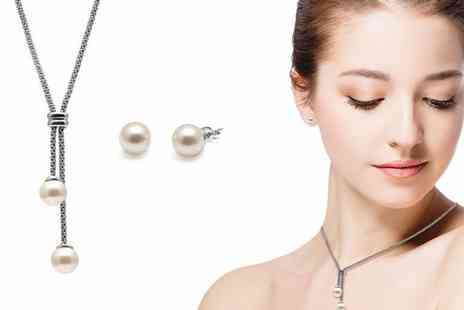 Lily Spencer - Pearl lariat jewellery set choose from two colours - Save 84%