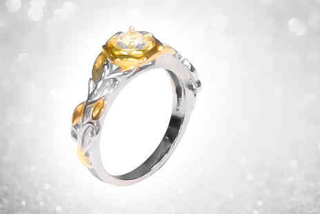 Your Ideal Gift - Gold coloured ring made with crystals from Swarovski - Save 84%