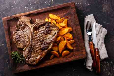Comedor Grill & Bar - Porterhouse Steak with Chips, Sauce and Glass or Bottle of Wine for Two - Save 32%