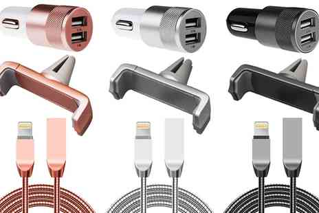 Groupon Goods Global GmbH - Car Accessory Kit for iPhone or iPad Choose 3 Colours - Save 0%