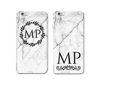 Deco Matters - Personalised initials marble iphone case - Save 73%