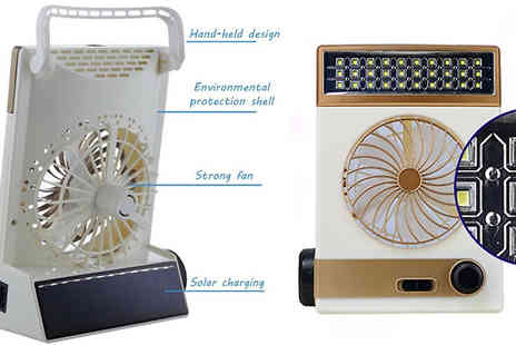 HXT Goods - Rechargeable Solar Powered Fan Choose 2 Colours - Save 76%