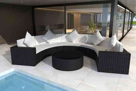Vida XL - 21 piece half round Rattan garden sofa set choose from two colours - Save 60%