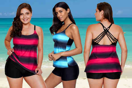 My Blu Fish - Striped tankini choose from two colours and sizes 10 to 18 - Save 76%