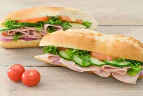Italian On The Mound - Italian Baguette, Hot Drink and Tray Bake or Chocolate Brownie for One or Two - Save 41%