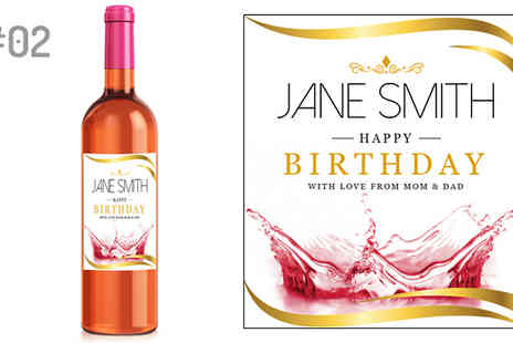 Personalised Gifts Market - 4 x Personalised Wine Bottle Labels in 9 Designs - Save 90%