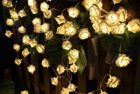Groupon Goods Global GmbH - One or Two Sets of 20 or 30 Warm White Led Battery Operated Rose Bedroom Fairy Lights - Save 72%