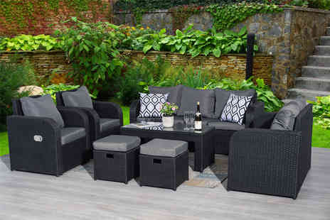 Dreams Outdoors - Nine seater reclining rattan set or set with a rain cover choose from three colours - Save 54%