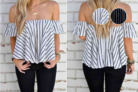 Shapelle - Ladies bardot striped blouse channel the style of the French Riviera - Save 73%