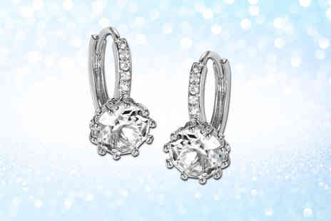 GameChanger Associates - Brilliant clear cut pair of earrings made with crystals from Swarovski - Save 83%