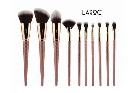Jazooli - 10 piece diamond design makeup brush set - Save 56%