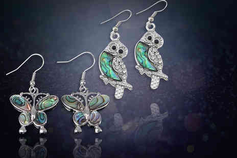 Evoked Design - Pair of iridescent butterfly or owl earrings - Save 79%