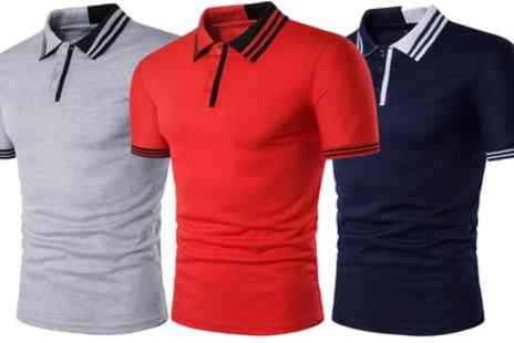 Groupon Goods Global GmbH - One or Two Mens Slim Fit Tipped Collar Polo Shirts - Save 64%