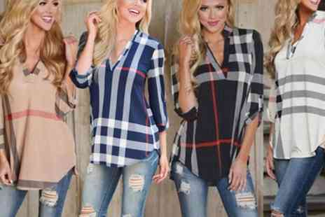 Groupon Goods Global GmbH - Womens V Neck Checked Shirts - Save 0%