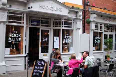 The Hook and Line - Two Course Fish and Chips Meal, Including Homemade Mushy Peas and Bread with Butter - Save 52%