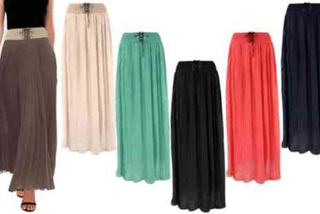 Groupon Goods Global GmbH - Womens Pleated Chiffon Flared Maxi Skirt - Save 0%
